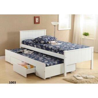 Harga Single Bed with Pull out Drawer and Mattress 1003
