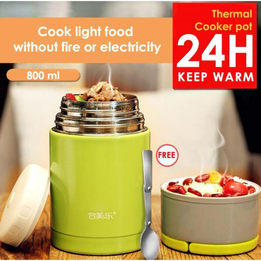 Thermal Cooker Pot 800ml with Steam Release Thermos Vacuum Steel Hot F