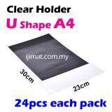 U Shape Clear Folder / Transparent Holder File A4 Size  / U Shape PVC Transparent Document Holder 24pcs Each Pack - I JIMAT