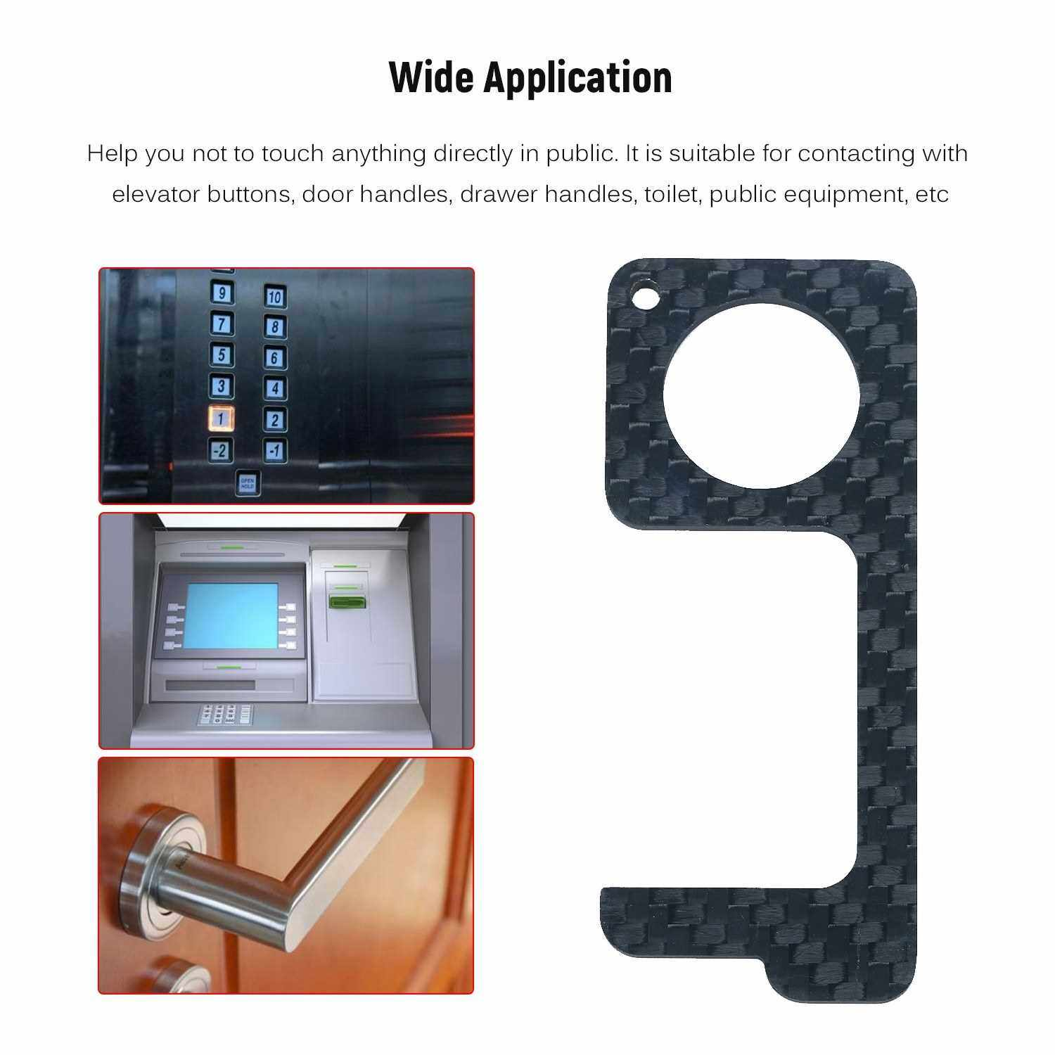 Best Selling Non-contact Safety Door Opener Portable Square Press Key Non-contact Press Tool for Door Handle Elevator Toilet in Public Carbon Fibre (Black)