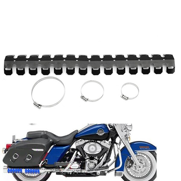 Moto Accessories - Motorcycle 2-stroke Engine Exhaust Muffler Pipe Heat Shield Cover Guard - BLACK / SILVER