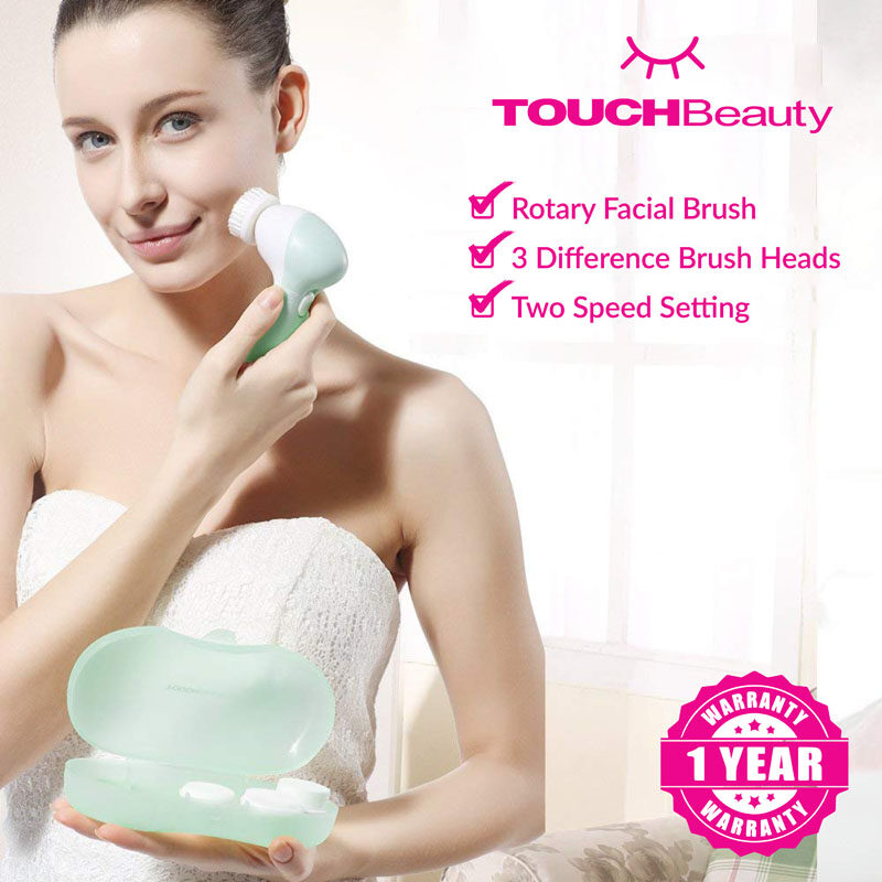 TOUCHBeauty Facial Cleanser Set TB-0525A 3 PROFESSIONAL BRUSH HEAD/Facial Cleansing machine/Deep Pores Cleaning / Facial Cleansing Brush Electric Massager Exfoliator Scrubber Skin Care Wash Machine/provide Deep Cleaning and Gentle Exfoliation