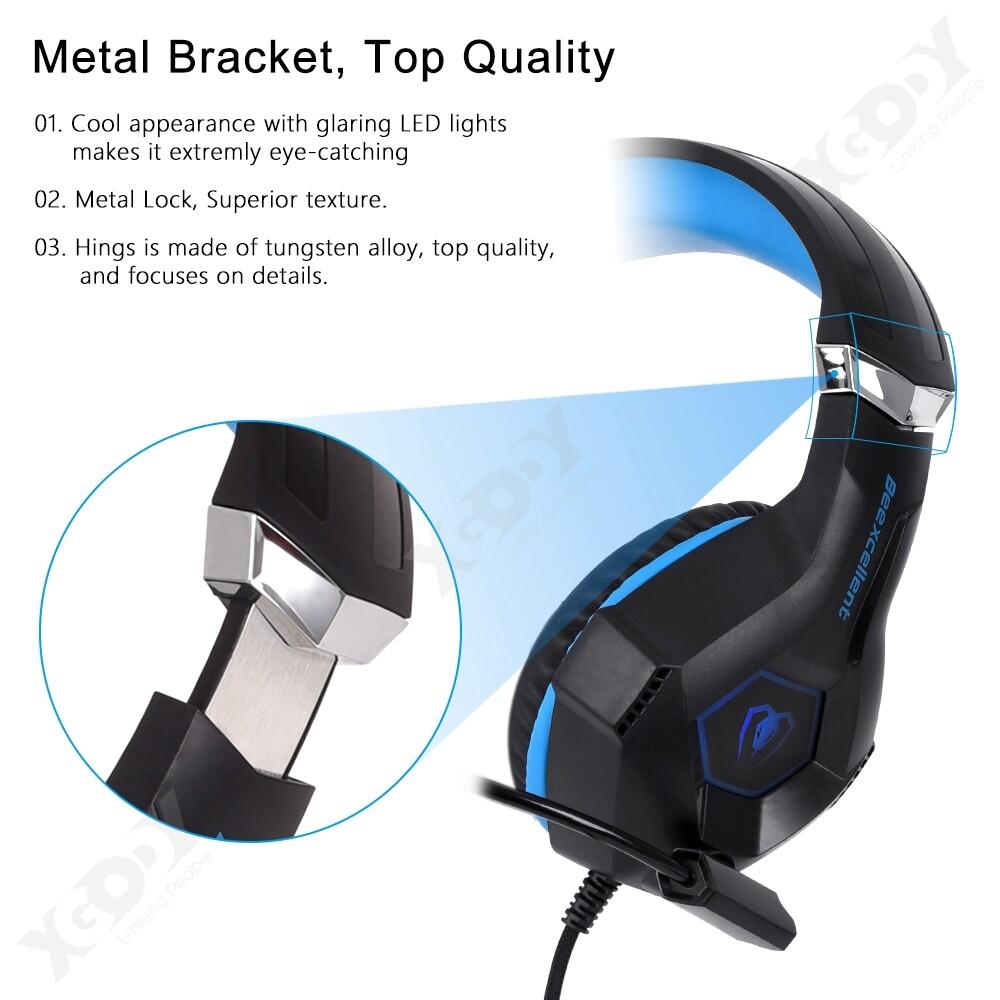 Over-Ear Headphones - Full Ear Gaming Head SET MIC LED Stereo Headphones for PC SW Laptop PS4 Slim Pro-3c - BLUE / RED