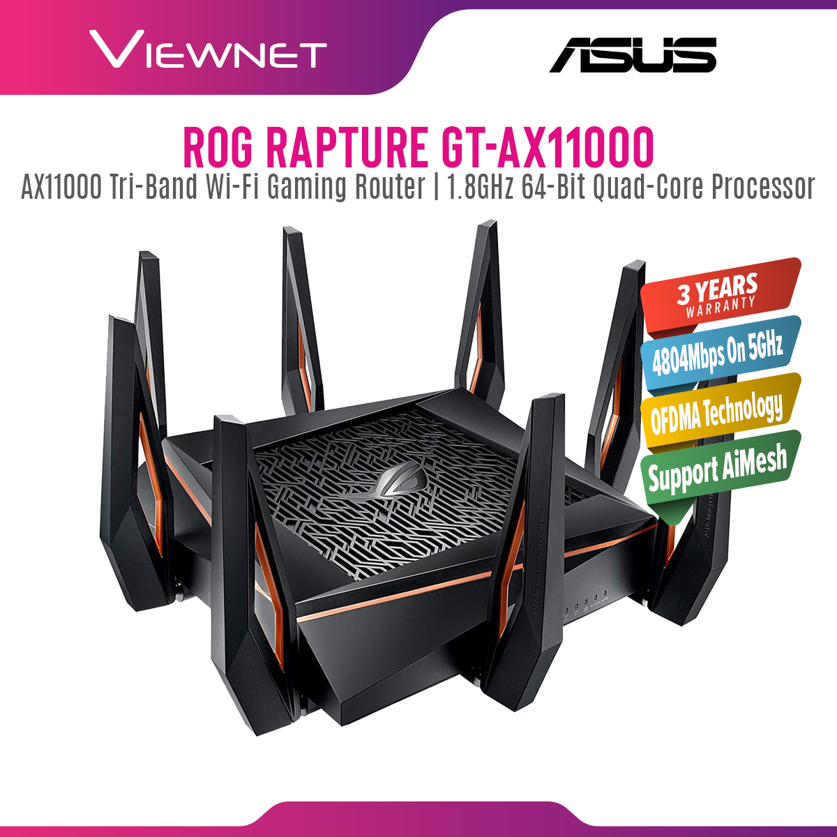 Asus GT-AX11000 ROG Rapture Tri-Band Wireless AX WiFi Router