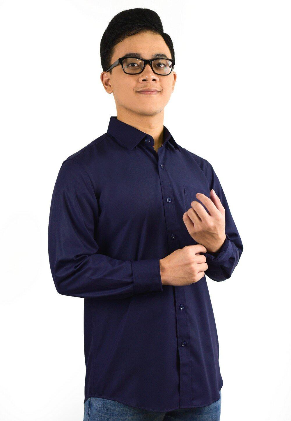 Plain Long Sleeve Shirt with Embroidery 709