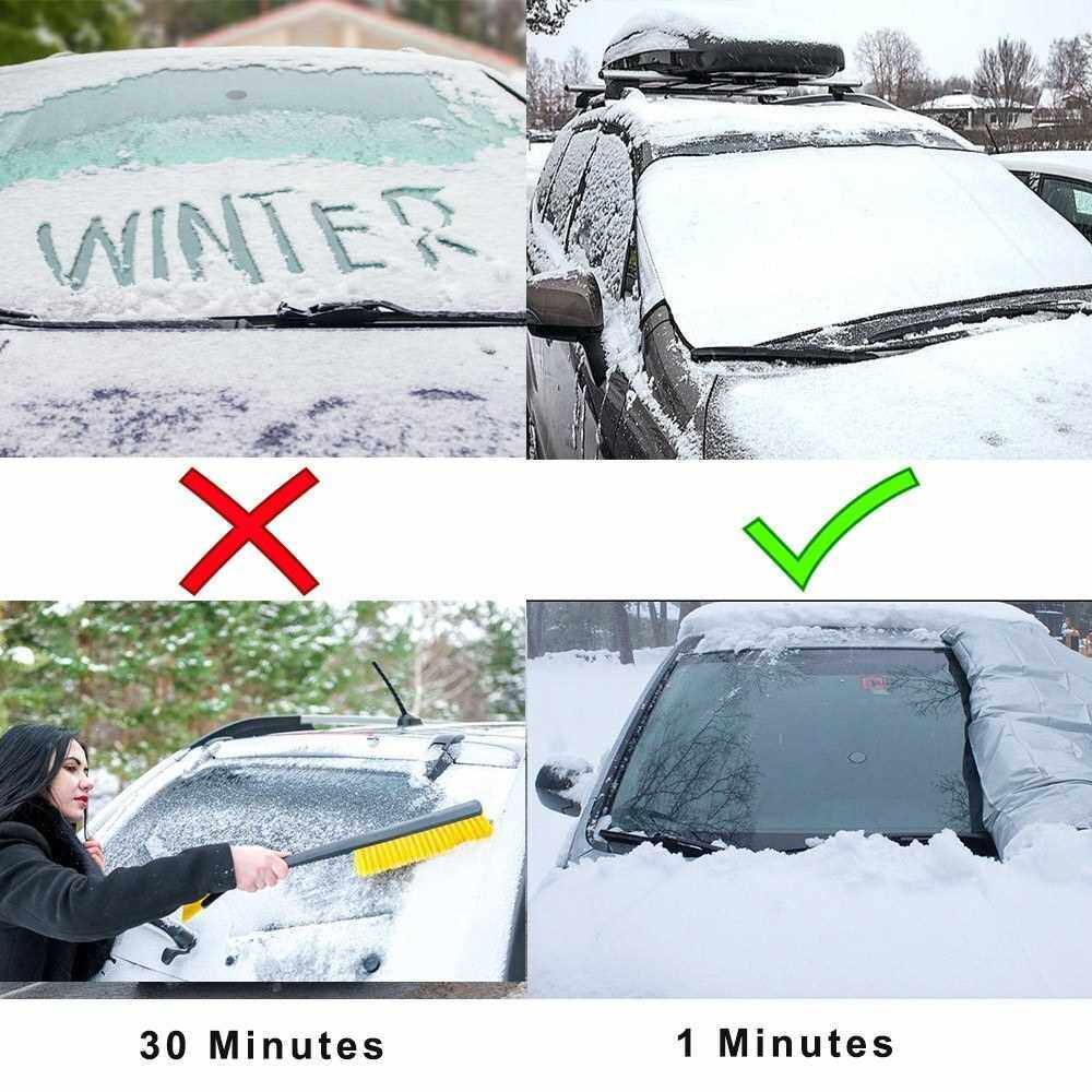 Best Selling Car Windshield Snow Cover Window Cover 150*120cm Sunshade Snow Covers Winter Summer Auto Sun Shade Protector Ice Snow Guard for Most Car SUV Truck (Standard)