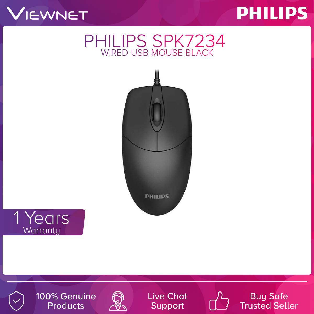 Philips (SPK7234) Wired Usb Mouse Black