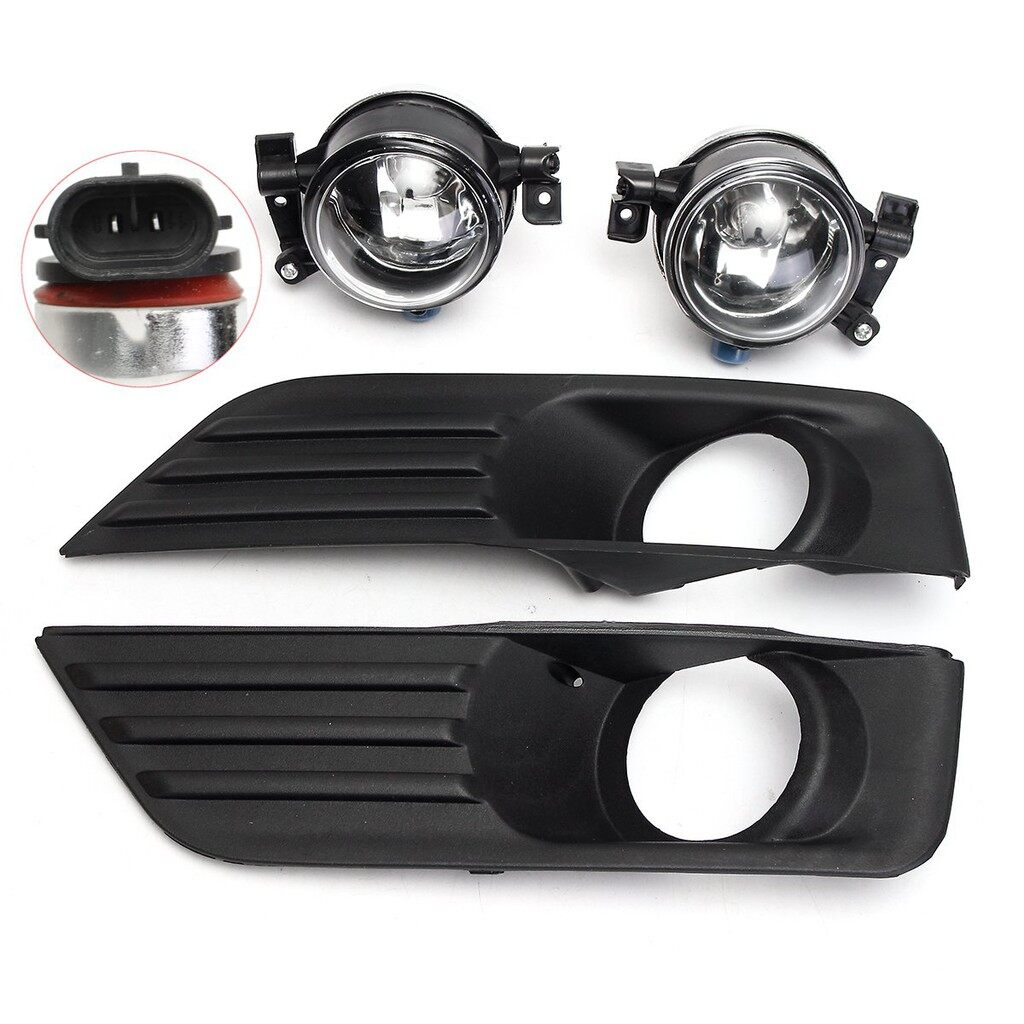 Car Lights - 4x Bumper Fog Light Grille Lamp LED Convex Len Kits SET For Ford Focus 2005-2007 - Replacement Parts