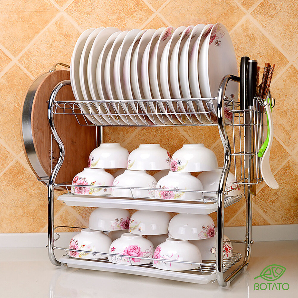 ? Eco.Botato DISH DRAIN RACK Kitchen Organizer Three Layers Tiers B-Shape Drainer 55cm Tableware Knife Holder Storage Shelf Cutlery Spoon Fork Tray with Accessories