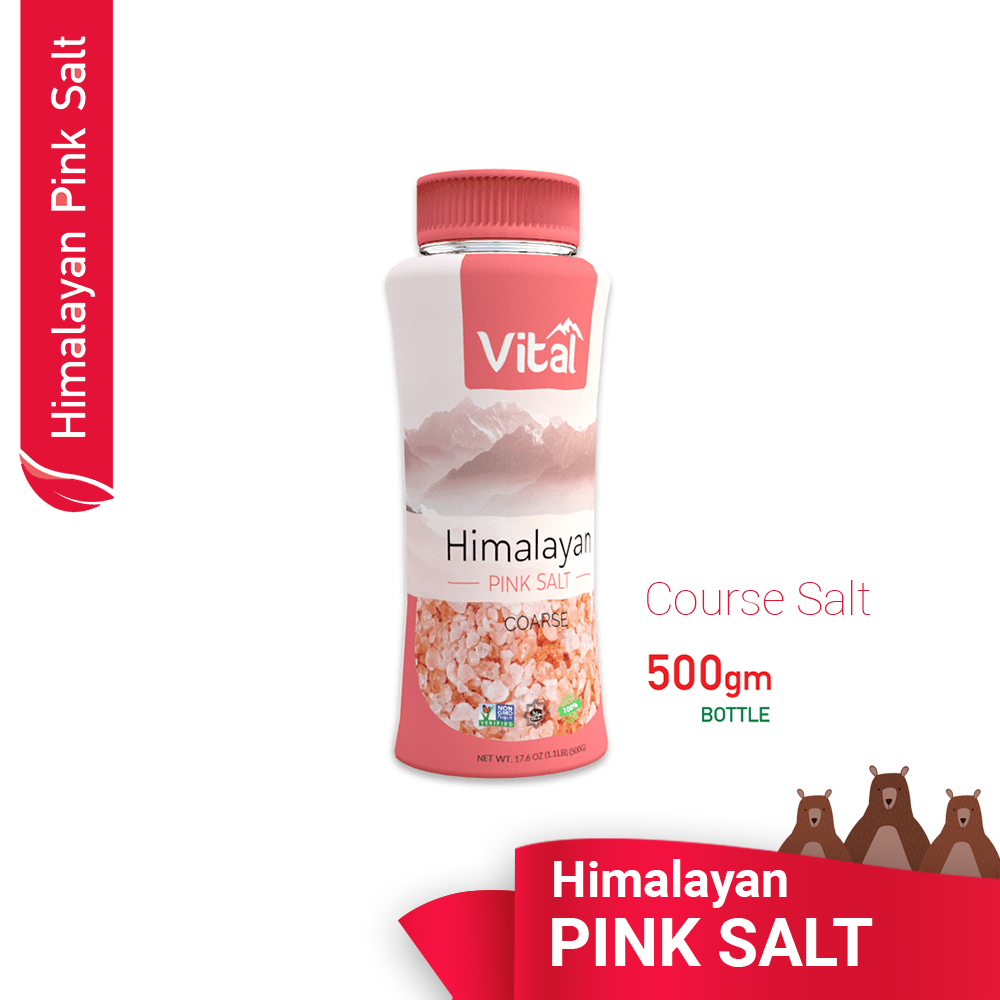 Vital Himalayan Pink  COURSE SALT / 500g ` READY STOCK  in MALAYSIA / Organic Salt