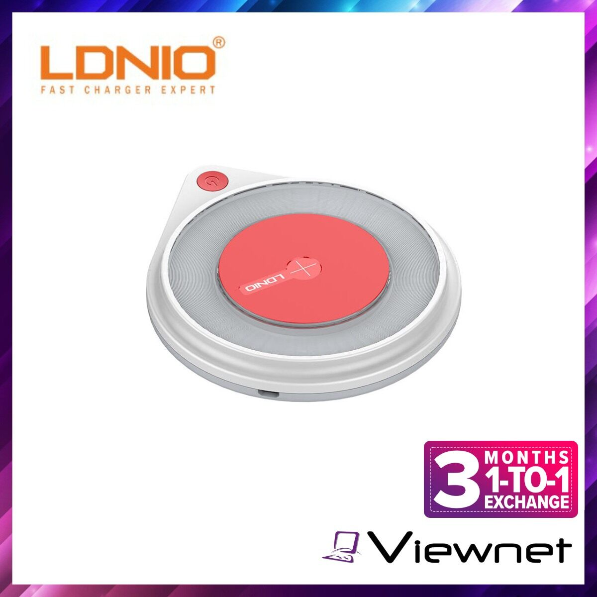 Ldnio 10W Fast Wireless Charger (AW001), Charging Pad Built-in Bedside Lamp for Mobile Phone, Input: 5V/9V 2A Wireless Output: 5V 1A, 9V 1.1A