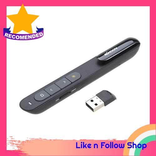 KKmoon 2.4GHz Wireless PowerPoint Clicker Remote Controller Flip Laser Pen Pointer Handheld PPT Presenter Unibody 10m Controlling Range Support Hyperlink Volume Control with USB Receiver (Black)