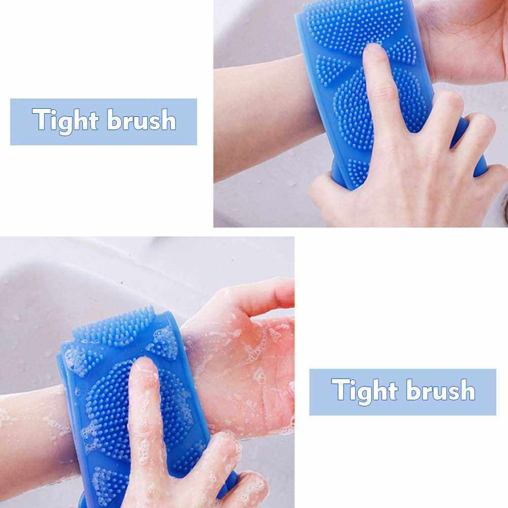 Silicone Back Scrubber, Bath Shower Silicone Body Massage Brush Silicone Bath Towel Exfoliating Body Brush Belt, Cleaning Shower Strap, Double-Sided Washing Towel Scrubber for Men Women (Yellow)