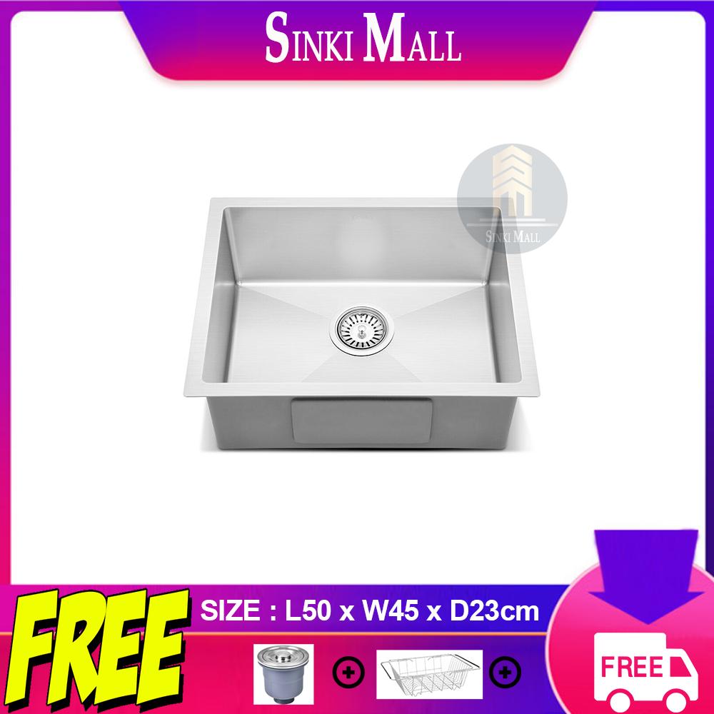 Handmade 50x45 SUS 304 Stainless Steel Kitchen Single Sink Basin Counter Topmount Undermount Single Bowl *FREE