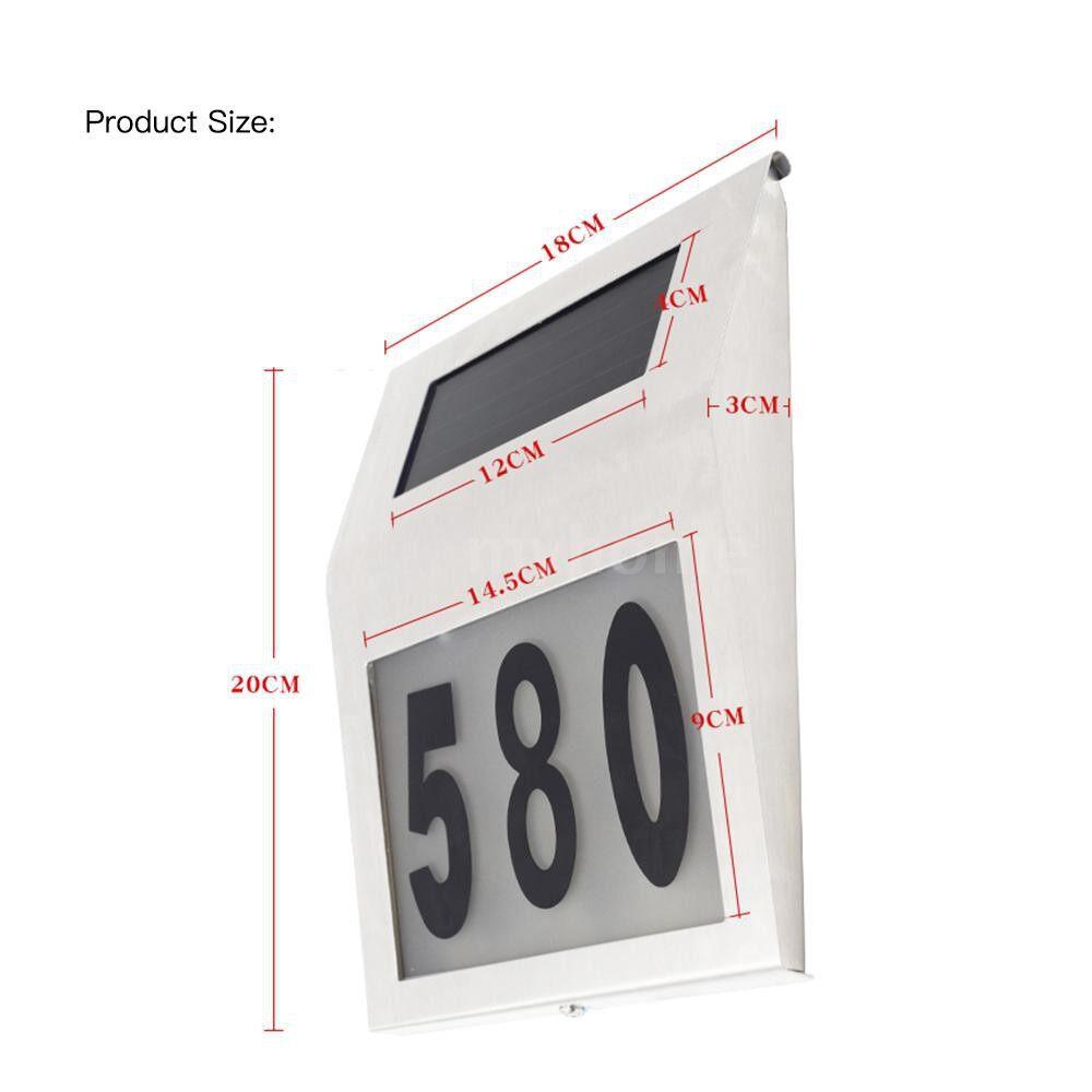 Outdoor Lighting - Solar Powered Energy 2 LED Doorplate Lamp Sensitive Light Sensor Supported DIY Door Number IP65 - SILVER