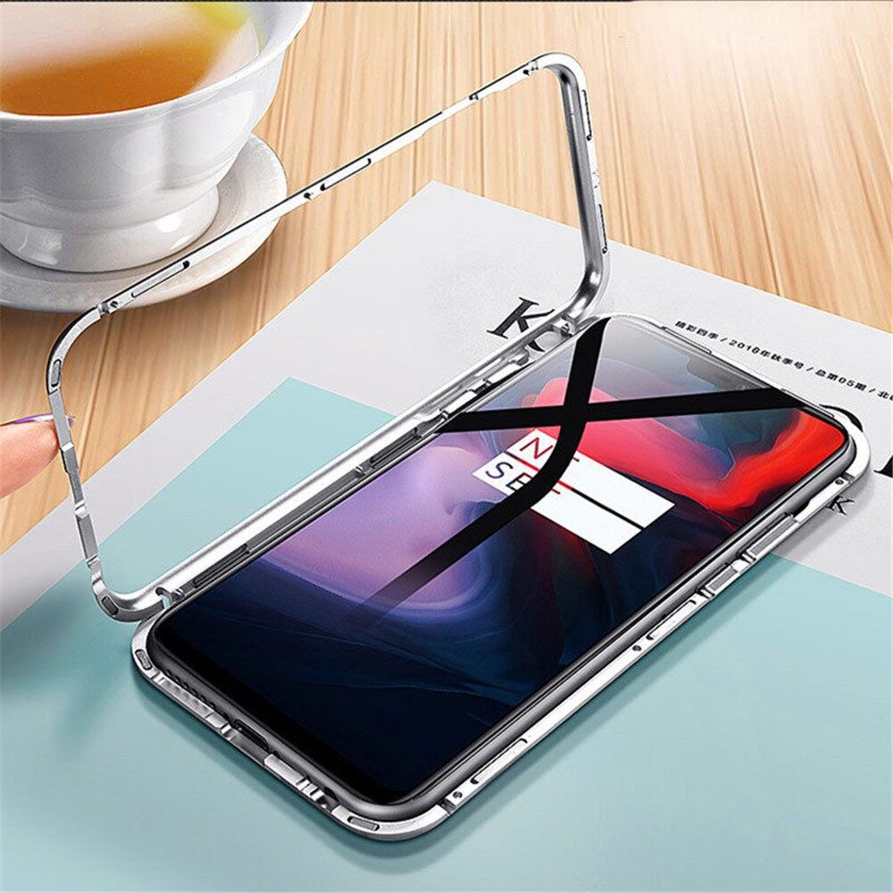 iPh Soft Cover - Magnetic Temerped Glass Cover Protective Case For OnePlus 6T - BLACK / SILVER / RED