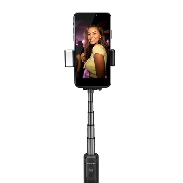 Phone Holder & Stand - Blitzwolf BW-BS8 Extendable BLUETOOTH Tripod Selfie Stick With LED Fill Light - BLACK