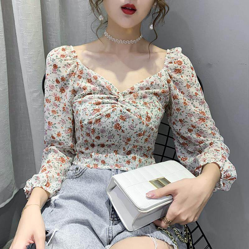 (PRE ORDER) WOMEN CLAVICLE V-NECK FLORAL CHIFFON SHIRT
