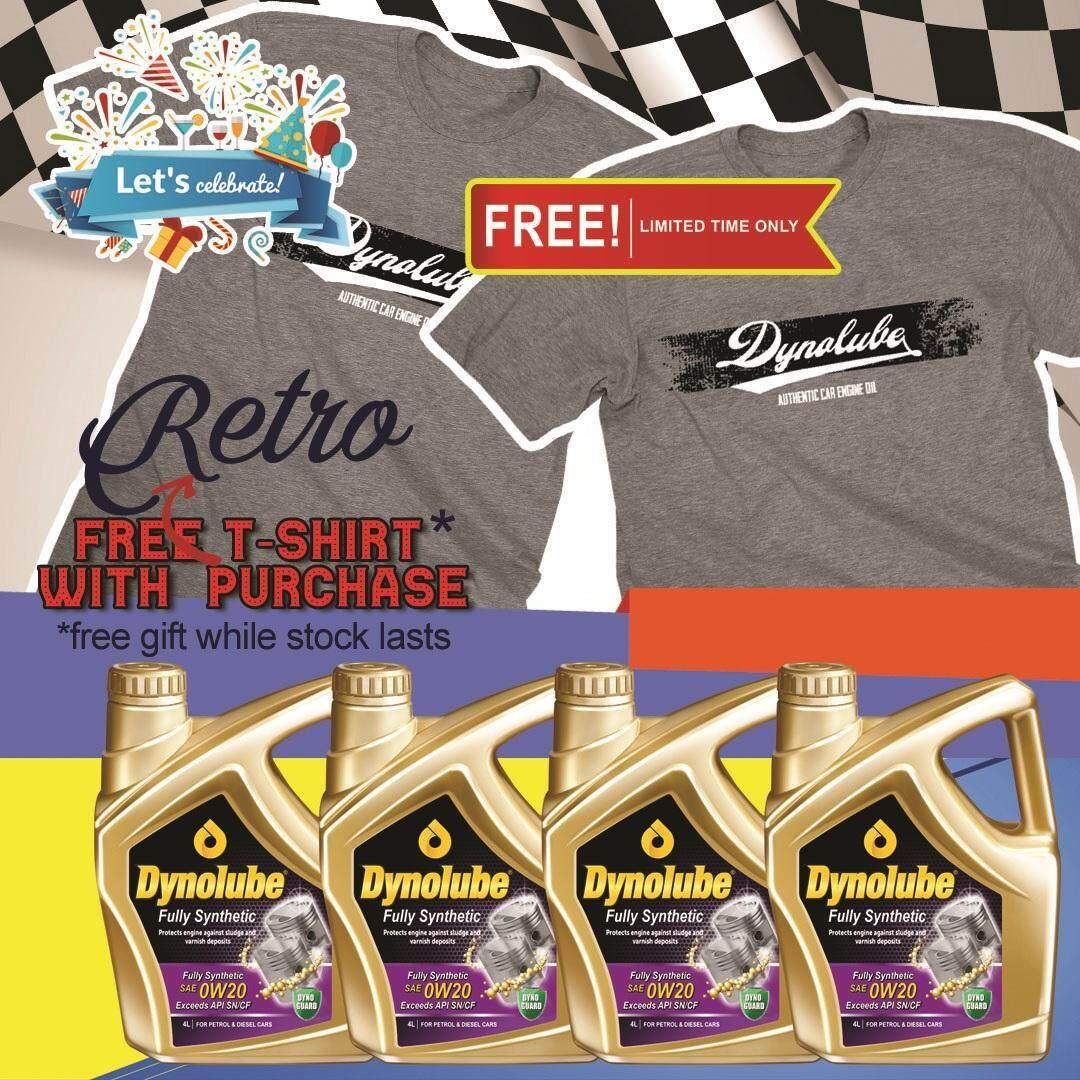 Dynolube 0W20 SN/CF Fully Synthetic 4Liter Engine Oil X 4 Bottles FREE T-Shirt (G) X 2pcs