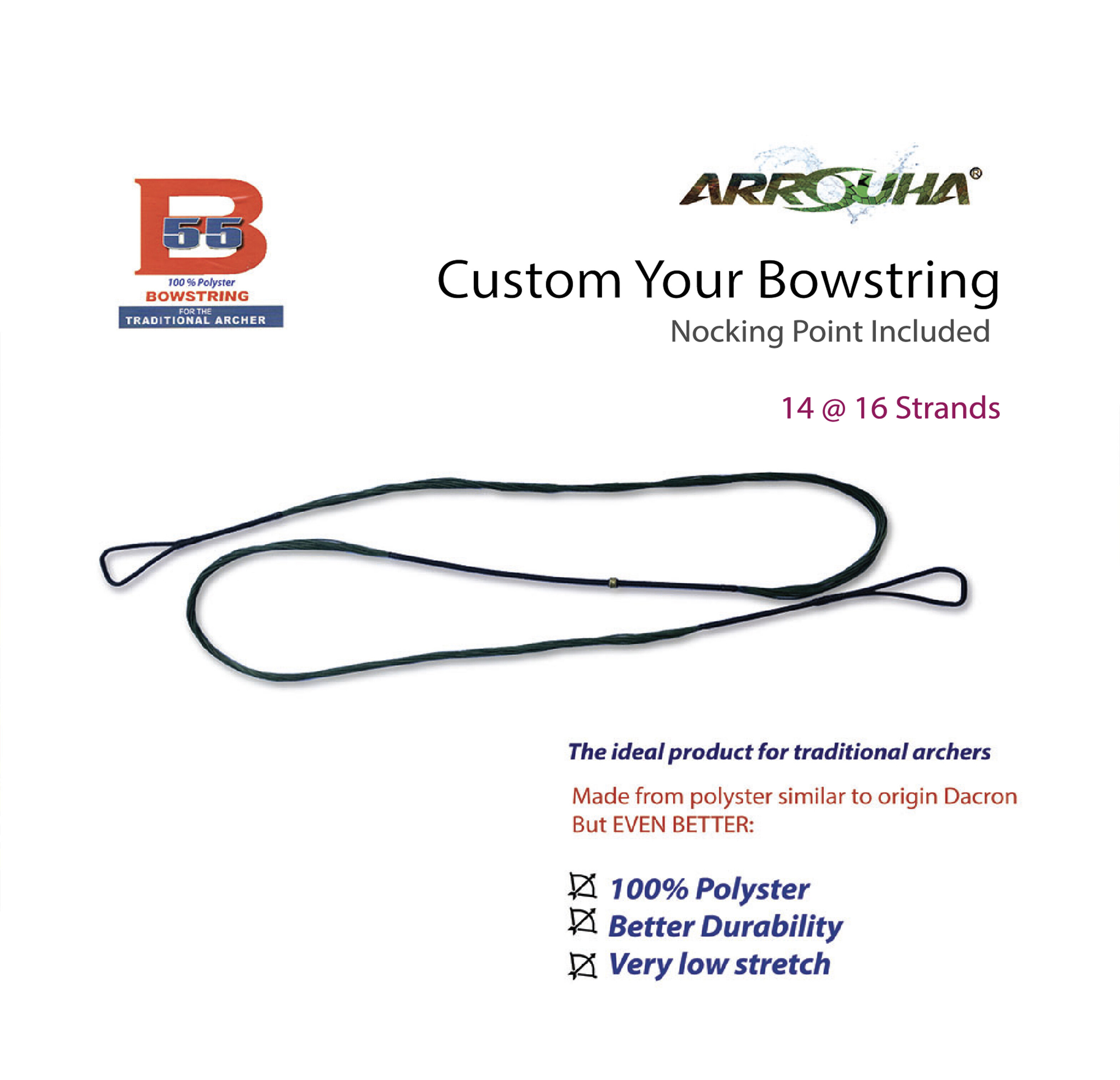 Traditional Bow String BCY B55 Custom Made Choose Your Size Now 14 Strands or 16 Strands Special by Arrouha