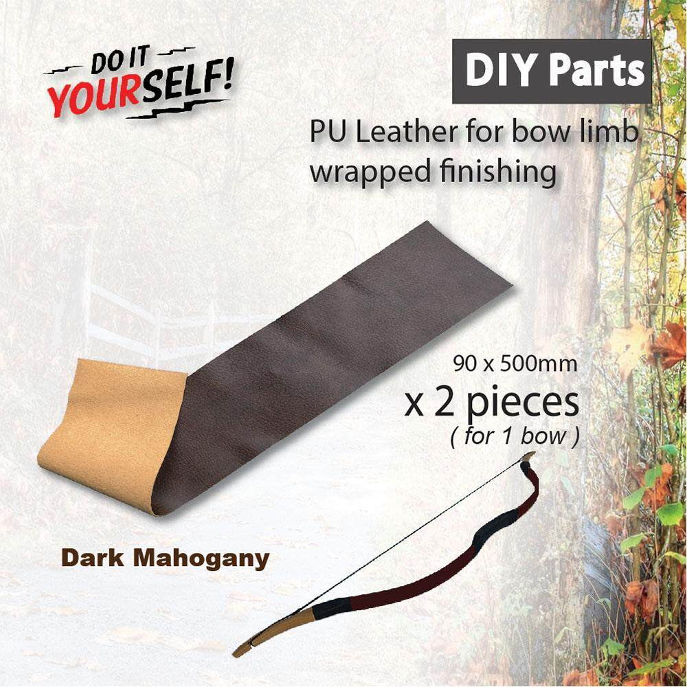 DIY Parts - Decorated Dark Mahogany PU Leather For Traditional Bow Making Bow Limb Finishes