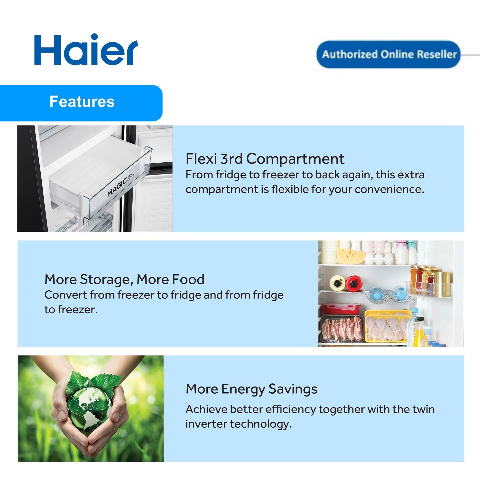 Haier (350L) 2 Door Metal Series Twin Inverter Refrigerator Peti Sejuk 2 Pintu HRF-IM388BM