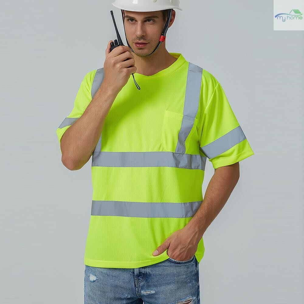 Protective Clothing & Equipment - SFVest High Visibility Reflective Safety Work Shirt Reflective Vest Breathable Work Clothes - YELLOW-XL / YELLOW-L / YELLOW-M / YELLOW-S