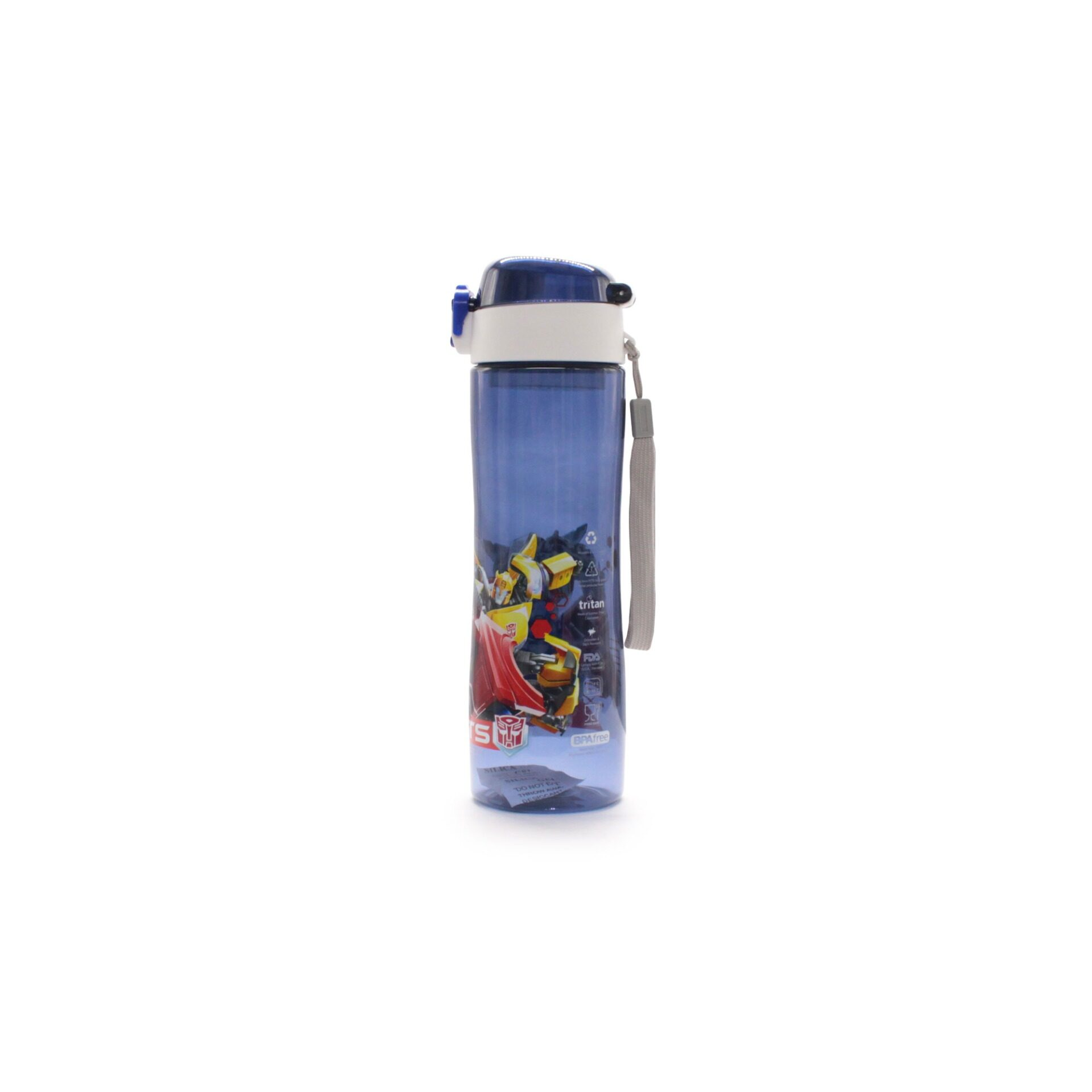 Transformers Autobot Roll Out Dark Blue Transparent School Kids Drinking Tritan Bottle 600ml With Short Handle (BPA Free)