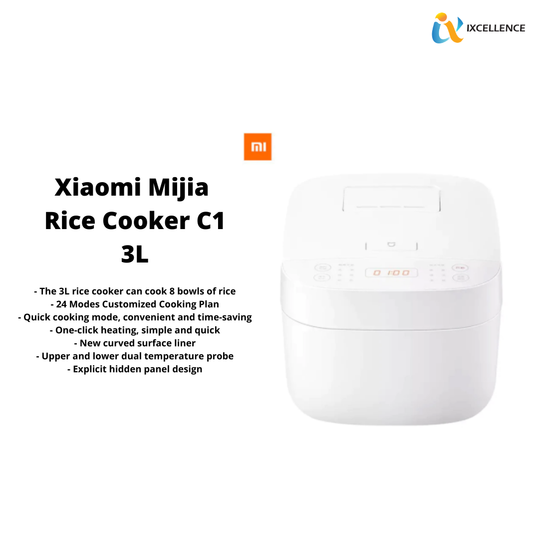 XIAOMI MIJIA ELECTRIC RICE COOKER C1 3L AUTOMATIC ADJUSTABLE COOKER 220V 650W ZHF4067CN (WHITE) MDFBZ02ACM
