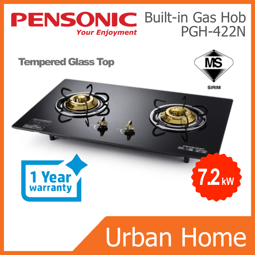 PENSONIC 2 Burners Built-In Hob with Tempered Glass Top (PGH-422N/PGH422N)