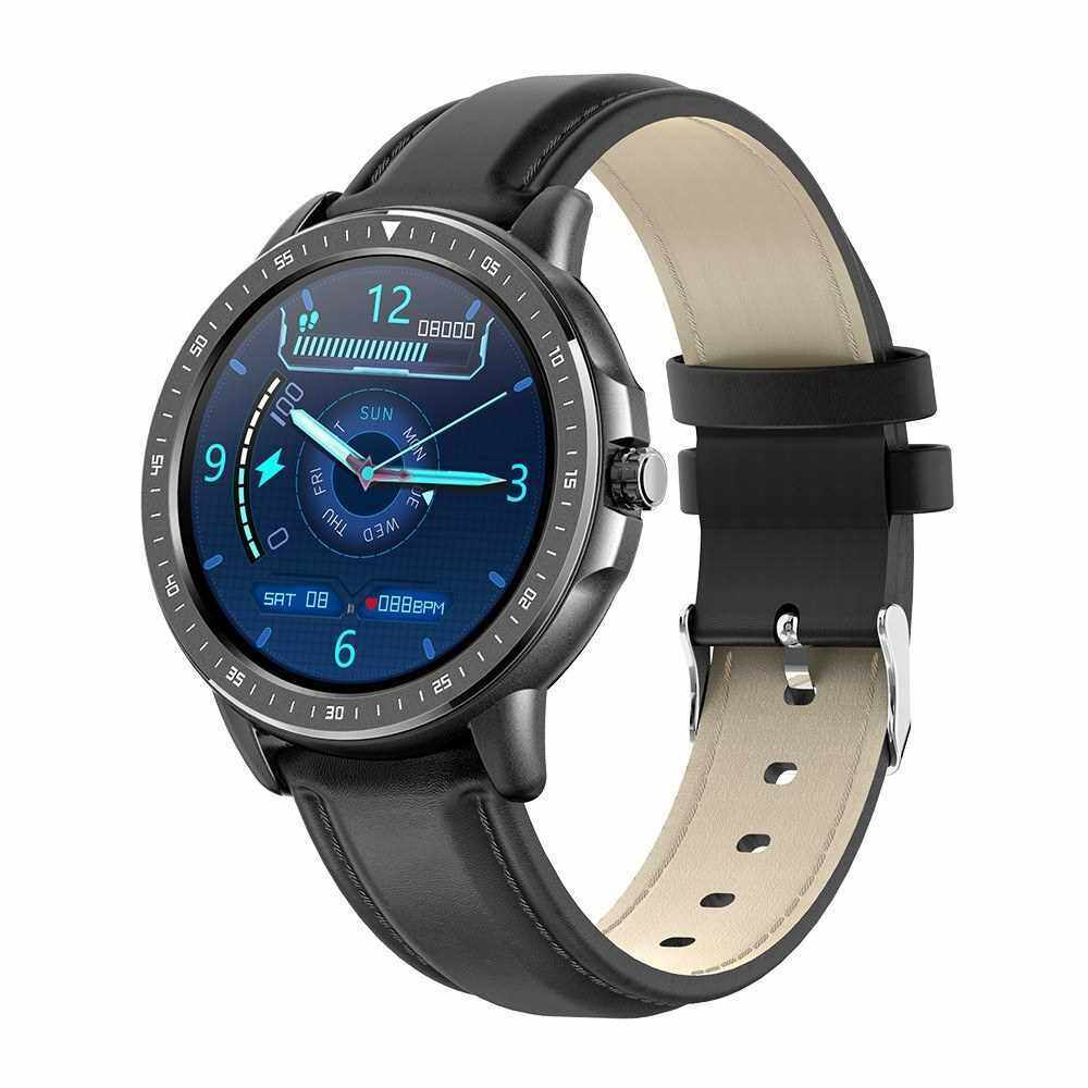 """1.3"""" Smart Watch Round Touchscreen Heart Rate Blood Pressure Blood Oxygen Scientific Sleep Multi-Sport Health Tracking Watch IP67 Waterproof Smartwatches for Men Women Compatible with Android/ iOS Support BT 5.0 (Black)"""
