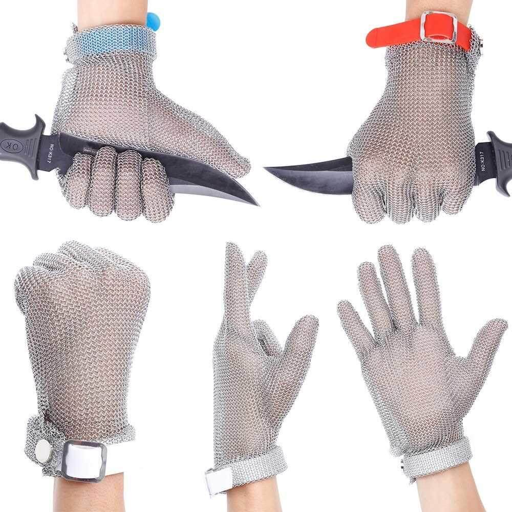 Best Selling Plastic Belt Stainless Steel Mesh Glove Cut Resistant Chain Mail Protective Anti-Cutting Glove for Kitchen Butcher Working Safety