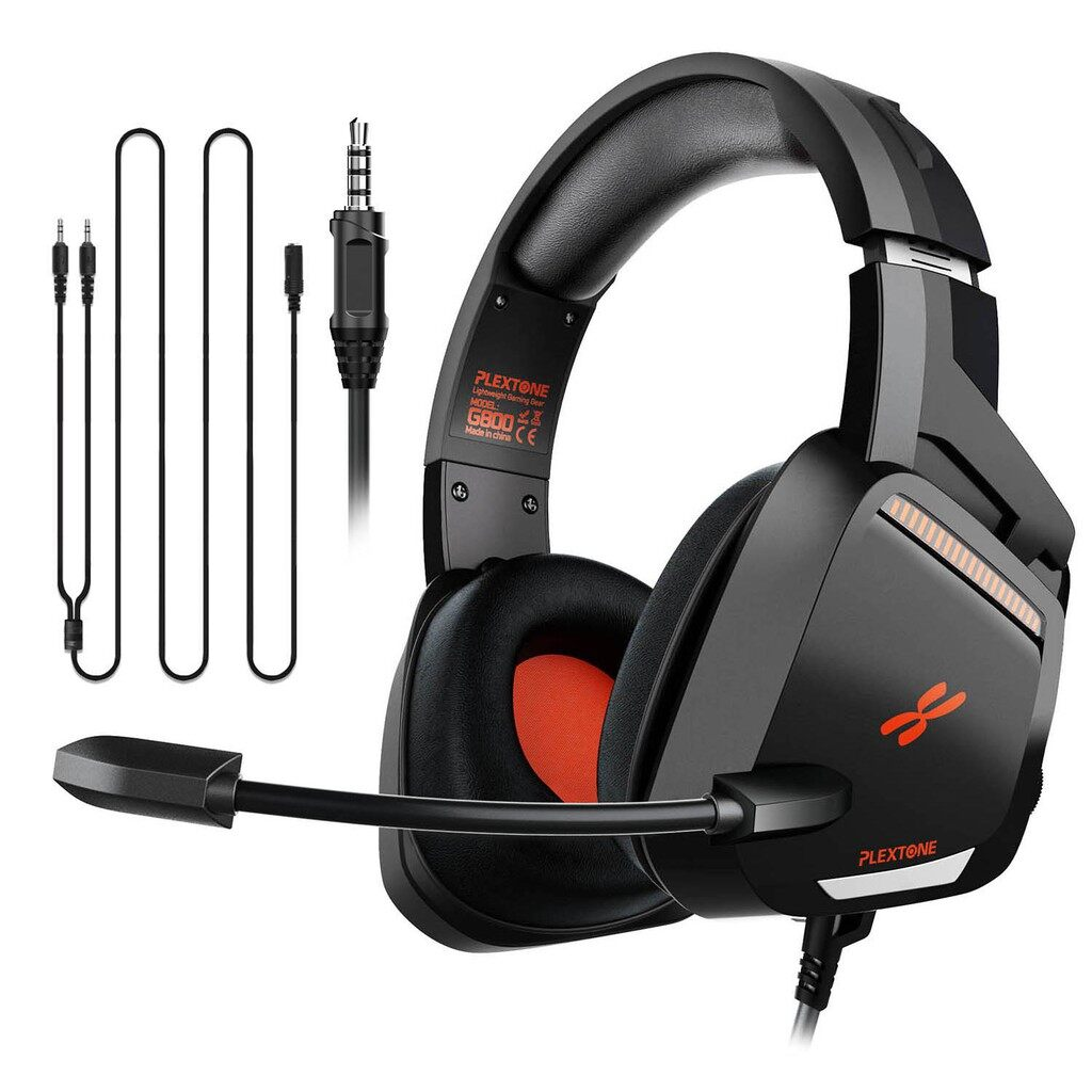Plextone G800 Wired Gaming Headset with 3.5 MM Audio Jack, 50 MM Audio Driver, Thickened Air Cushion