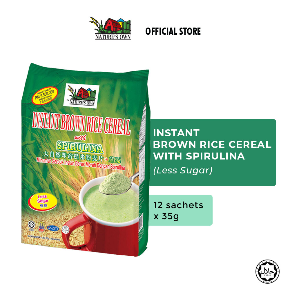 Nature's Own® Instant Brown Rice Cereal with Spirulina - Less Sugar (1 pack x 12 Sachets x 35g)
