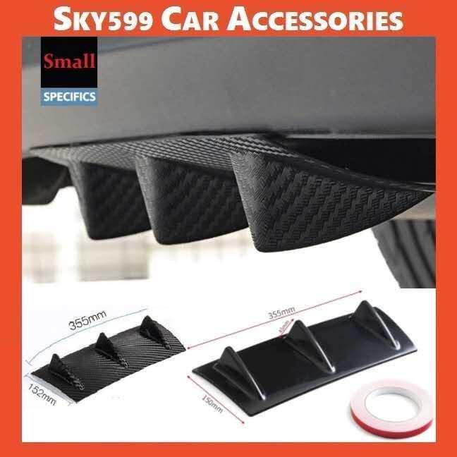 Universal Rear Bumper Chassis Spoiler Shark Deflector Carbon/Black Abs Diffuser?35.5cm?