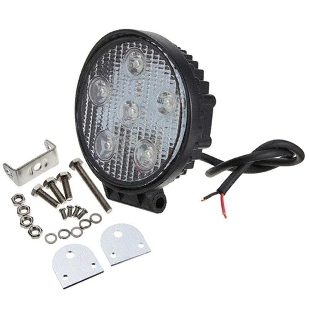 Car Lights - Round Heavy Duty Offroad Truck Jeep Driving Fog Lamp Work Light 6LED 18W 12V - Replacement Parts