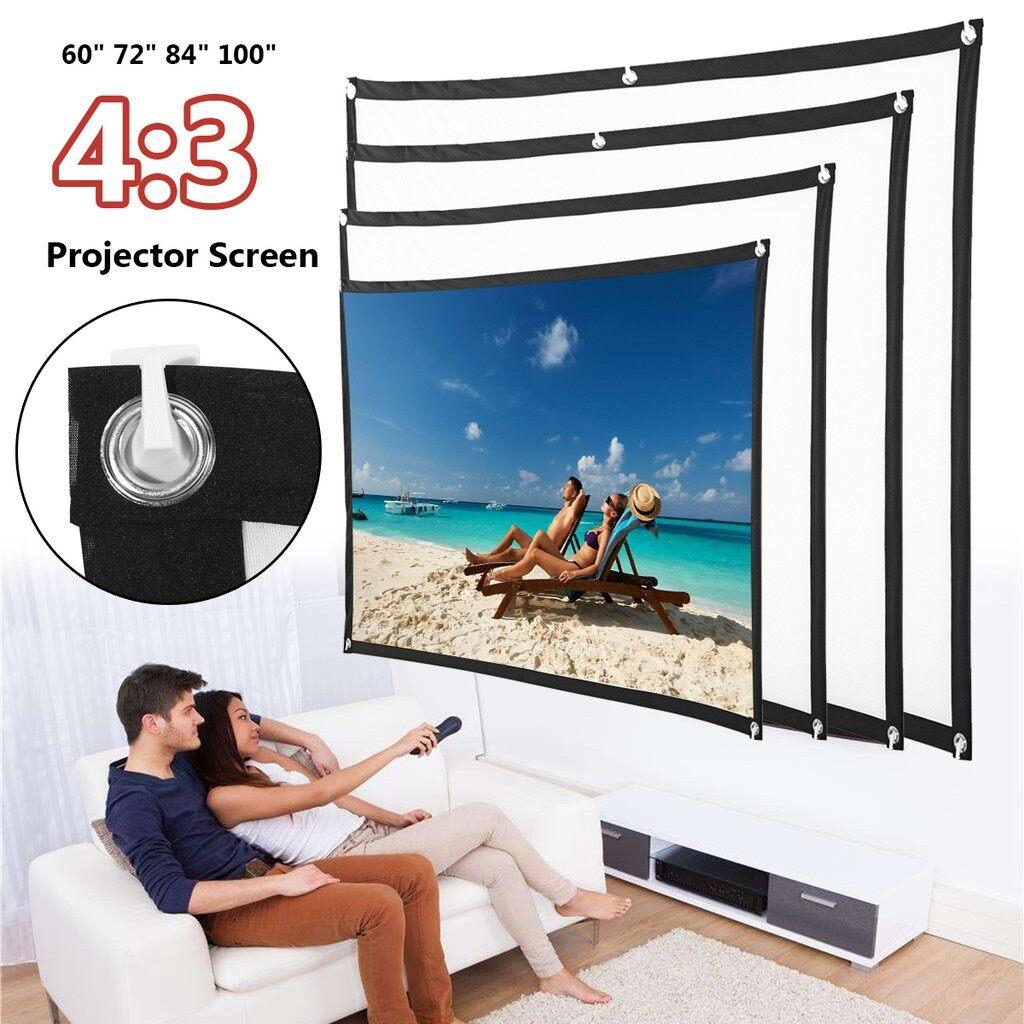 Projectors - 60-100 inch HD 4:3 Projector Screen Home Outdoor Cine3D Film Projection - 100 INCH / 84 INCH / 72 INCH / 60 INCH