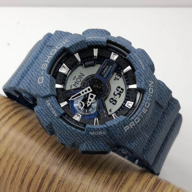 Full Set Fashion Premium Quality Men G-Shock_Style Autolight Sports Resin Watch GA-110 & GA 100 Mineral Glass Dual Time Display Full Auto Calender