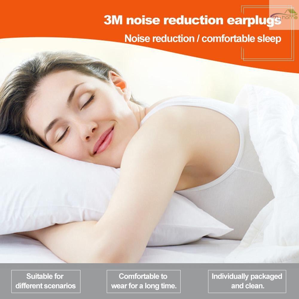 Ear Care - 3M 1Foam Ear Plug Corded Earplugs 29 dB Noise Reduction Rating 10 Pairs Individual Packaging - ORANGE