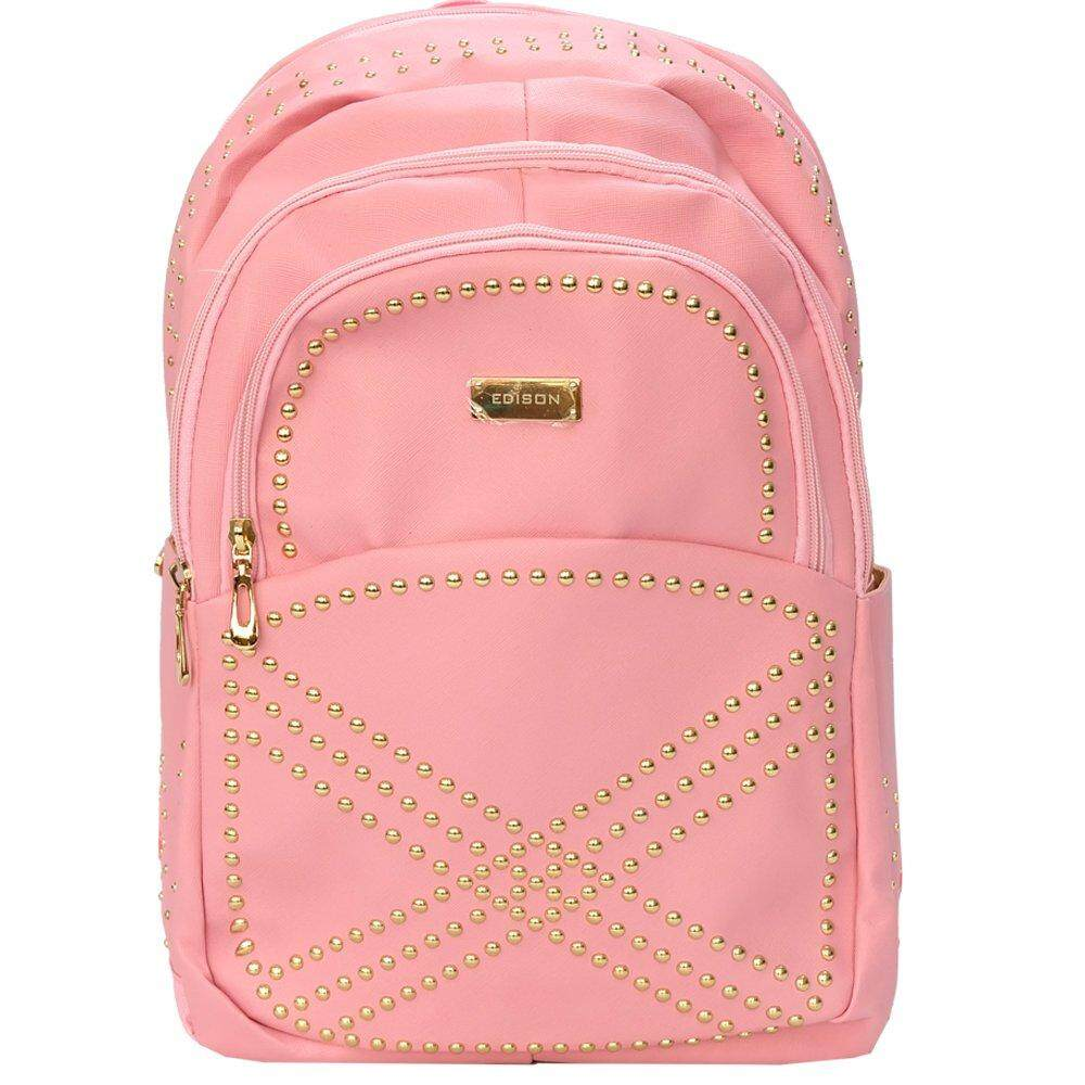 "EDISON 18"" Stylish PU Waterproof  Notebook Backpack  - XB1510 (Pink)"
