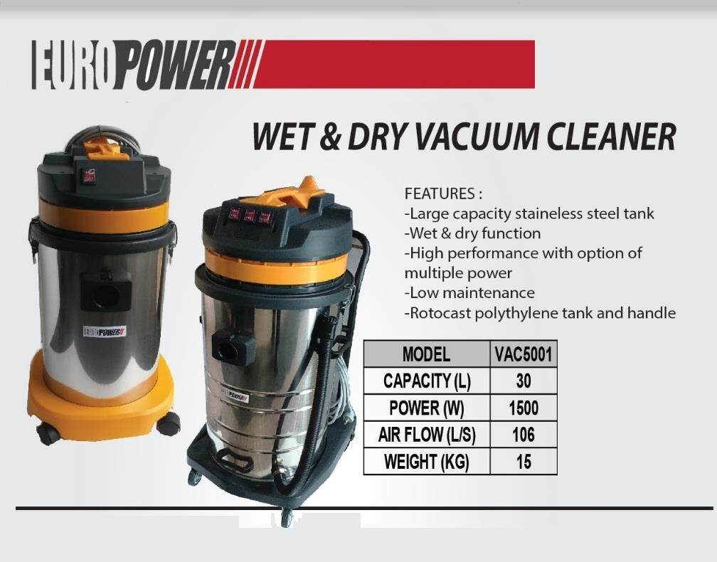 Europower VAC5001 Wet & Dry Stainless Steel Vacuum Cleaner 30Litre