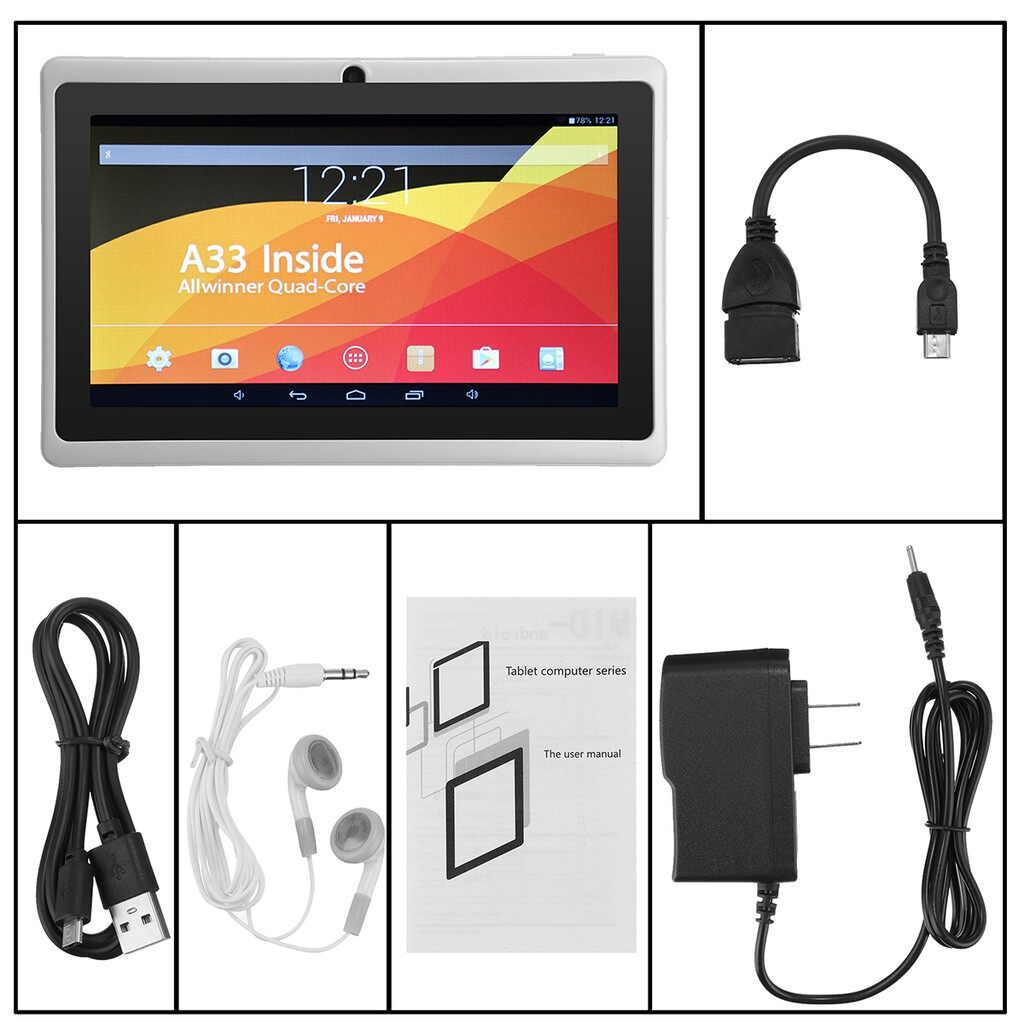 Monitors - 7 '' Inch Tablet Quad Core Android 4.4 8GB Dual Tablet Camera WiFi BLUETOOTH - WHITE / BLACK