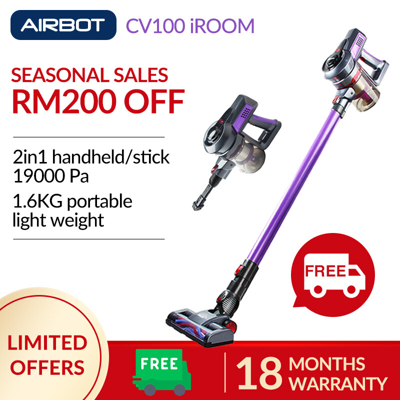 Airbot CV100 iRoom (Purple) Handheld Portable Cyclone Handstick Canister Cordless Vacuum Cleaner 19kPa 18 Months Warranty Car Carpet Aircon Turbo Power Energy Saving Bed Rechargeable Sofa Dust Mite Brush Xiaomi