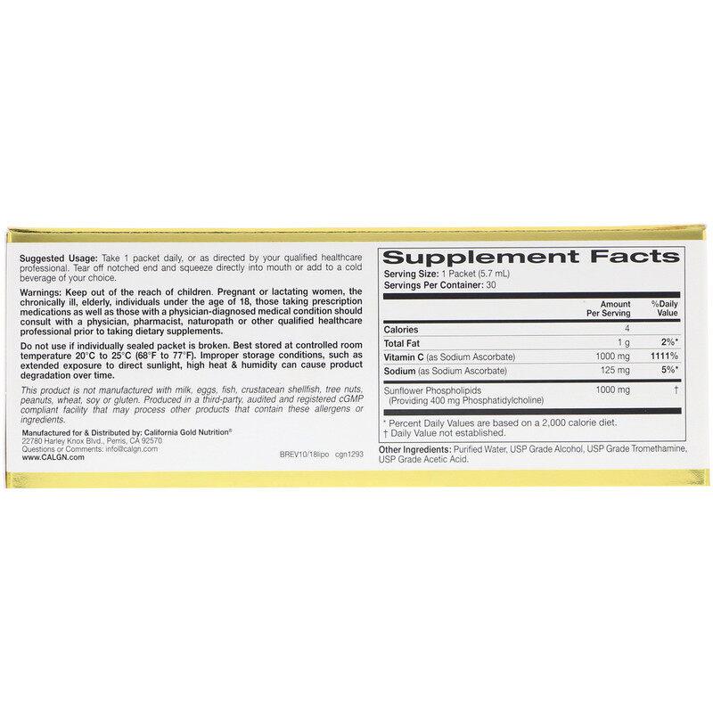 California Gold Nutrition, LiposomeUP, Liposomal Vitamin C, 30 Packets (5.7 ml Each) C
