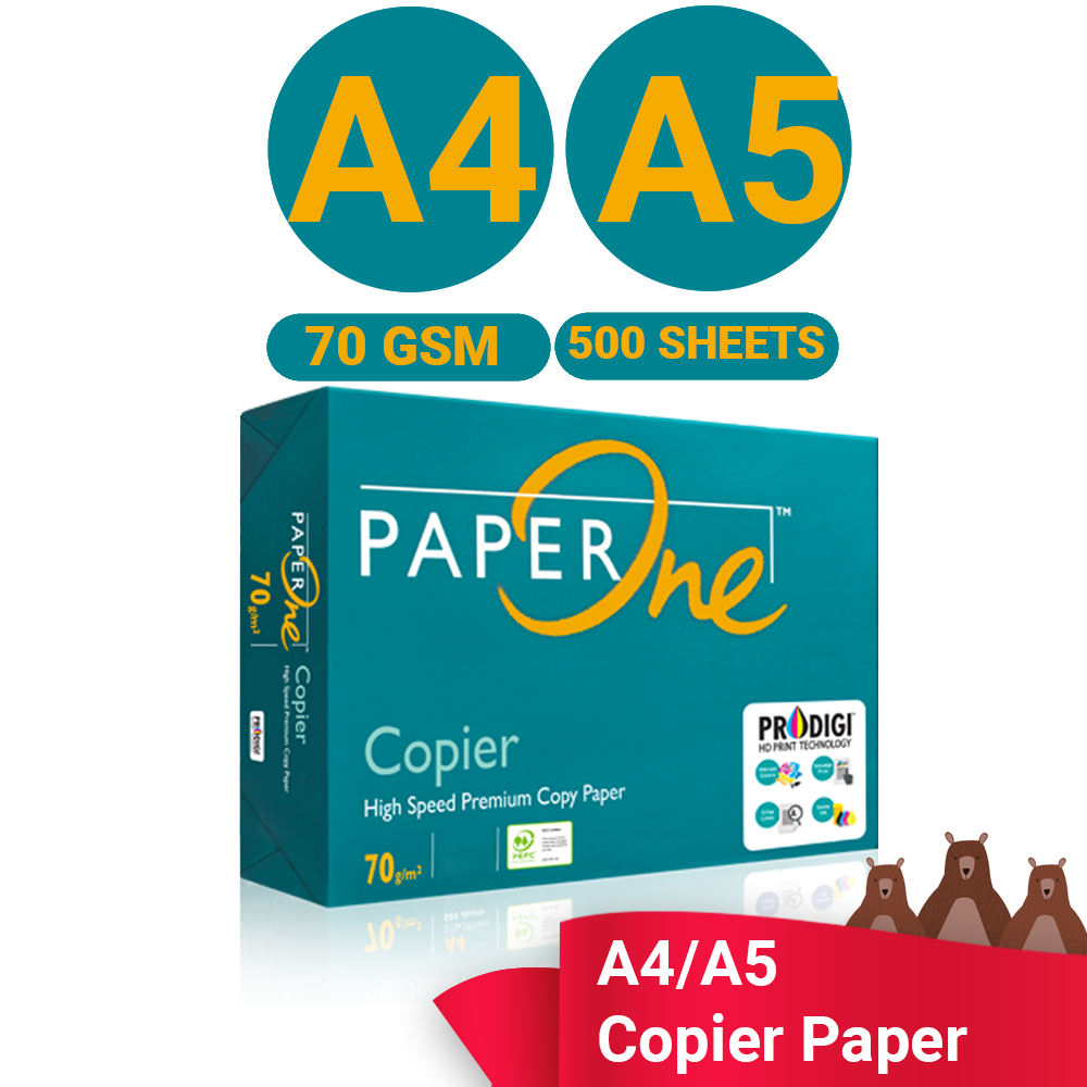 PAPERONE Paper A4 / A5 Size 70 gsm 500 Sheets (Per Ream) Printing Paper White A4 Paper Photocopy Ink-Jet Laser Fax Machine