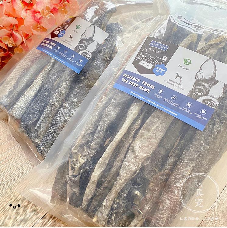 【Petowards】 Jumbo Pack Deep Sea Cod Fish Skin with Omega 3 & 6 / Dental Care / Pet Treats 150g 鳕鱼皮长片风干超大包耐咬磨牙天然补钙