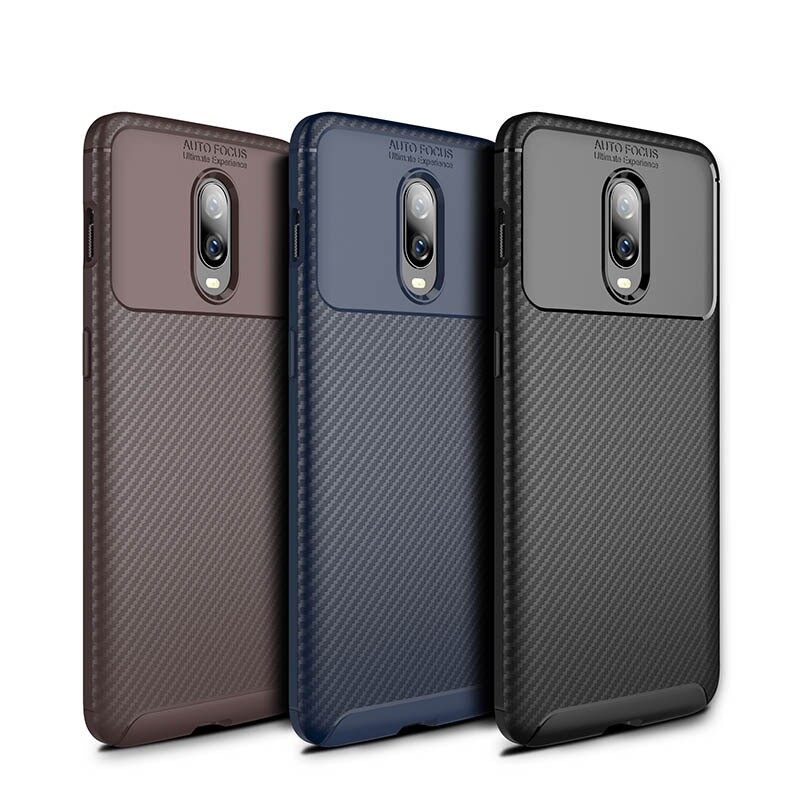 iPh Soft Cover - Carbon Fiber Shockproof Soft TPU Protective Case For Oneplus 6T - BLACK / BROWN / NAVY