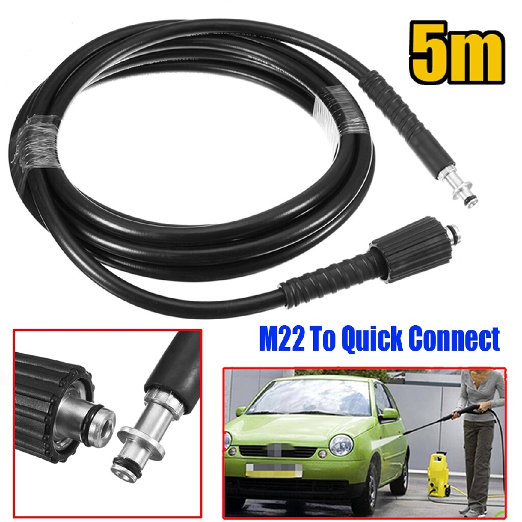 Cleaning Equipment - 15ft High Pressure Washer Hose 9mm Quick Connect to M22 Adaptor For Karcher K - Car Care