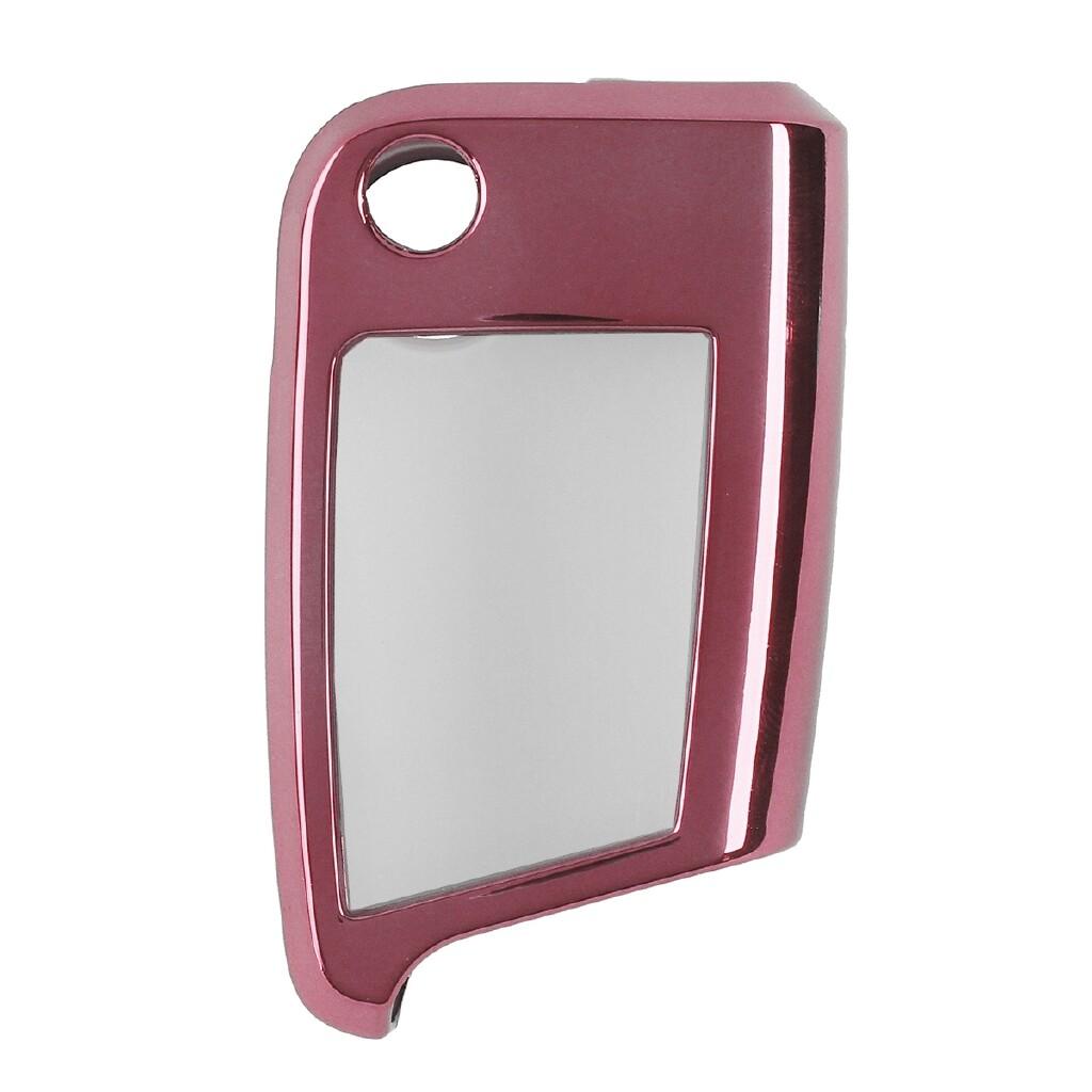 Moto Accessories - TPU Remote Smart Key Cover Case Shell W/ Keypad Film For VW Tiguan Golf Skoda - PINK / RED / BLUE / SILVER / GOLD / BLACK