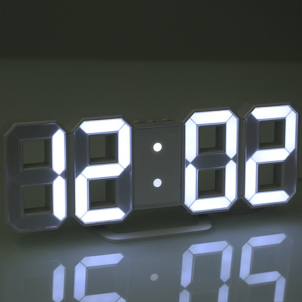 Clocks - Large LED Digital Wall Clock Time Display With Alarm and Snooze Function - BLACK SHELL & GREEN / BLACK SHELL & BLUE L / BLACK SHELL & RED LI / BLACK SHELL & WHITE / WHITE SHELL & GREEN / WHITE SHELL & BLUE L / WHITE SHELL & RED LI / WHITE SH